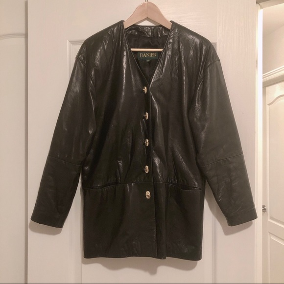 Danier Jackets & Blazers - Vintage Danier 90s black leather jacket gold small